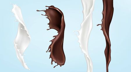 Milk and chocolate streams, pouring white and brown swirl liquids with splashing droplets isolated on blue background. Dynamic elements for package promo ad design, Realistic 3d vector icon, clip art