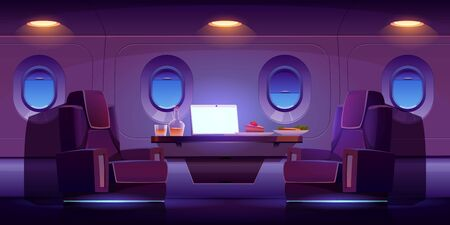 Private jet plane interior, luxury airplane cabin inside view with cozy seats, table, laptop, meal and alcohol drink. Illuminated dark business class empty salon aisle, Cartoon vector illustration 向量圖像