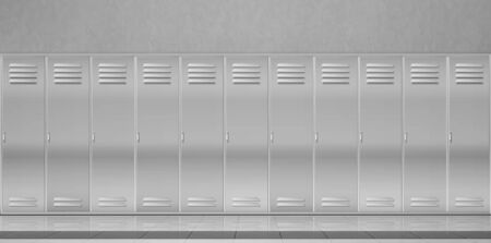 Steel lockers in school corridor or changing room in gym. Vector realistic interior with individual metal cabinets with closed doors in sport or fitness club. Security storage in public room