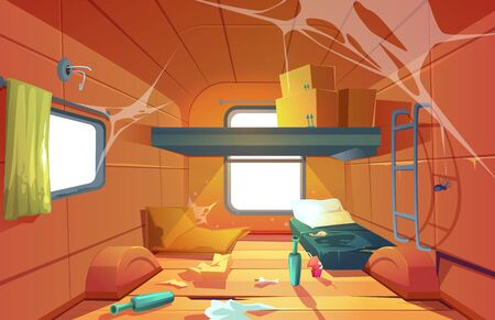 Poor dirty interior of camper. Vector cartoon illustration of poverty, abandoned camping van with mess, broken floor, torn bed, trash and spiderweb. Empty living room in trailer car