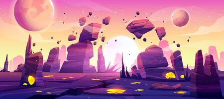 Ausländische Planetenlandschaft für Weltraumspielhintergrund. Vektor-Cartoon-Fantasy-Illustration von Kosmos und Planetenoberfläche mit Felsen, Rissen, leuchtenden Stellen und Nebel für Gui-Spieldesign Vektorgrafik
