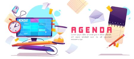 Agenda banner. Schedule planner, appointment events and daily work. Vector cartoon illustration with organizer on computer screen, clock, hourglass and paper notes. Concept of control business tasks