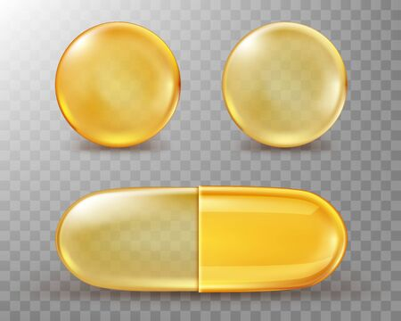 Capsules with oil, gold round and oval pills isolated on transparent background. Cosmetics, vitamin, omega 3 golden bubbles, antibiotic gel, serum droplets or collagen essence, realistic 3d vector set