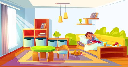 Sick child with fever in bed with thermometer in mouth. Diseased boy feel so bad got influenza relaxing in bedroom with book in hands and intact meal. Cold symptom, illness cartoon vector illustration