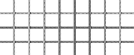 Steel grid from reinforced rebars, welded metal wire mesh. Vector realistic lattice of iron rods for building construction, cage or prison cell. Grate of stainless armature on white background Vector Illustratie