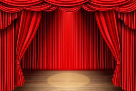 Red stage curtain and wooden floor realistic vector. Theater, opera scene drape backdrop, concert grand opening or cinema premiere backstage, portiere for ceremony performance template 3d illustration