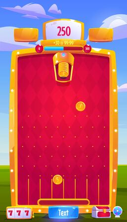 Mobile game ui ux design. Vector interface for arcade with score, icons, level, menu buttons and trophies. Phone gaming application with red board, coins and golden frame on landscape background
