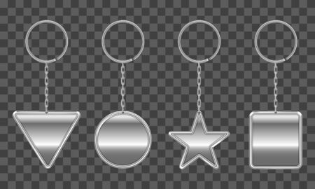 Silver keychain, holder trinket for key with metal chain and ring. Vector realistic template of steel fobs different shapes isolated on transparent background. Blank accessory for corporate identity Vecteurs