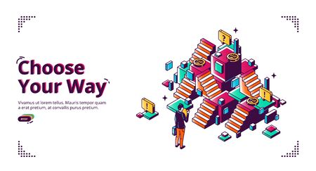 Choose your way banner. Career development concept. Vector landing page of planning life direction with isometric illustration of businessman making decision in front of confused stairs Illustration