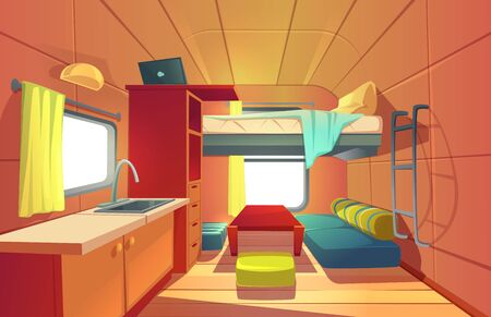 Camping trailer car interior with loft bed, couch, kitchen sink, desk with laptop, bookshelf and window. Rv motor home room inside view, cozy place for living and sleeping, Cartoon vector illustration