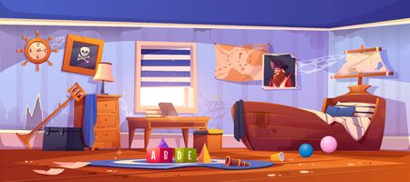 Abandoned kids bedroom in pirate style, neglected empty interior with ship bed, captain portrait, spiderweb on wall, ragged wallpaper, children room with scattered rubbish, cartoon vector illustration 矢量图片