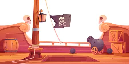 Pirate ship wooden deck onboard view, boat with cannon, wood boxes and barrel, hold entrance, mast with ropes, lantern and skull buccaneer flag isolated on white background cartoon vector illustration Illustration