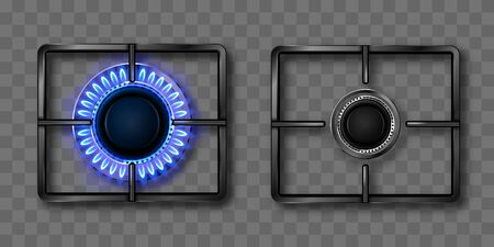 Gas burner with blue flame and black steel grate. Kitchen stove with lit and off hob. Vector realistic set of burning propane butane in oven for cooking top view isolated on transparent background