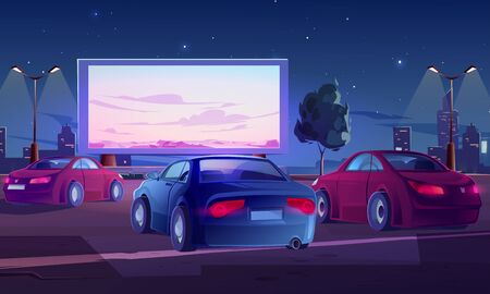 Car street cinema. Drive-in theater with automobiles stand in open air parking at night. Large outdoor screen with nature scene glowing in darkness on starry sky background Cartoon vector illustration