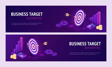 Business target accounting isometric landing page. Dart boards with arrows in bullseye, calculator and column chart. Goals achievement, success and competitors victory 3d vector axonometric web banner