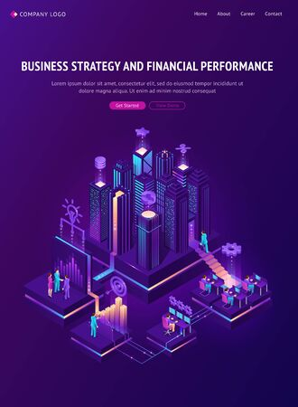 Business strategy and financial performance banner. Vector infographic of finance analysis, company management report and communication with isometric people, city, icons and graph