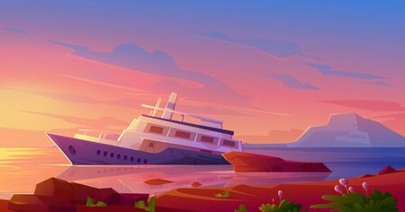 Sunken cruise ship in ocean harbor at sunset. Vector cartoon illustration of tropical summer landscape with old passenger liner sinking in sea water after shipwreck