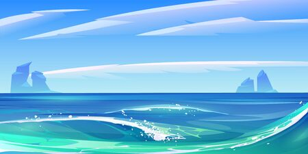 Ocean or sea waves with white foam, nature landscape with fluffy clouds in sky and rocks sticking up from water surface. Summer morning or day tranquil seascape background, Cartoon vector illustration