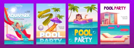 Kids aquapark pool party banners set, amusement aqua park with water attractions, boy riding slide, girl swimming on inflatable ring, outdoor children summer entertainment. Cartoon vector illustration Illustration