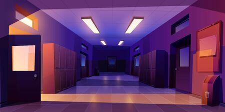 School hallway night interior with entrance doors, lockers and bulletin board on wall in electric light. Vector cartoon illustration of empty corridor in college, university with classrooms doors Ilustracje wektorowe