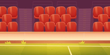 Seats on sport stadium with soccer, football or basketball field. Vector cartoon illustration of empty fan tribune with rows of plastic red chairs and green grass on court