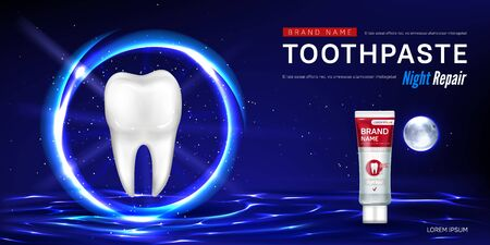 Toothpaste tube and tooth in glowing sphere on water surface on background of night sky. Vector realistic brand poster with product for dental care, night repair. Promo banner, advertising background Vector Illustration