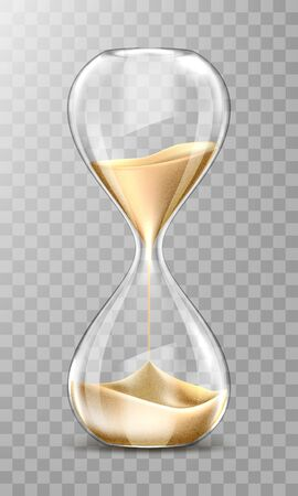 Sand hourglass, glass timer with falling golden grains. Vector realistic sand clock isolated on transparent background. Vintage watch for countdown hour or minutes. Running time or deadline concept