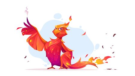 Phoenix or fenix fire bird cartoon character. Fantasy magic creature with red burning plumage and steaming wings. Fairytale animal, symbol of immortality and reborn from ashes vector illustration