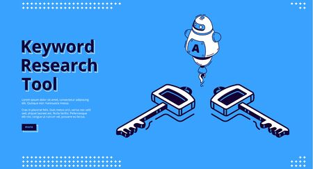 Keyword research tool banner with isometric icons on blue background. Vector landing page of SEO optimization service with line art robot, chatbot with artificial intelligence