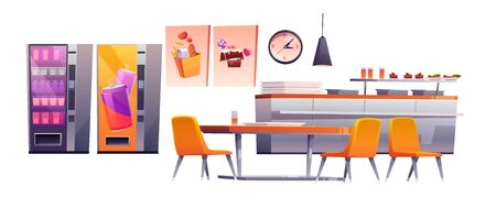 School cafe, college canteen, dining room stuff. Isolated counter desk with trays, meals and beverages, table with chairs, vending machines with snacks and drinks, banners, Cartoon vector illustration