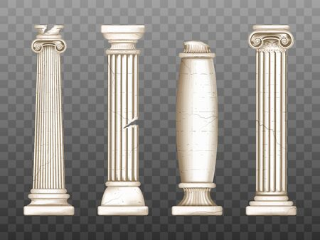 Baroque pillars, roman renaissance columns with cracks. Ancient classic ivory marble, stone greece classic architecture, antique interior colonnade facade design, Realistic 3d vector obelisks set Illustration