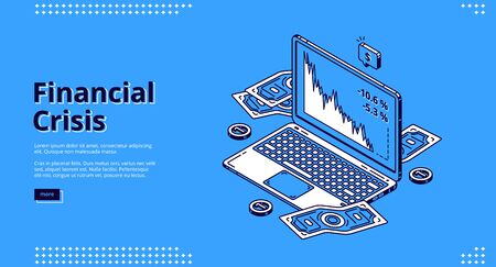 Financial crisis banner. Decline on stock market, economy crash. Vector landing page of finance problems with isometric illustration of money and laptop with falling graphs on screen