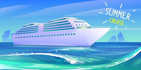 Cruise ship in ocean. Summer luxury vacation on cruise liner. Vector cartoon illustration of tropical seascape with passenger ship on blue marine water waves