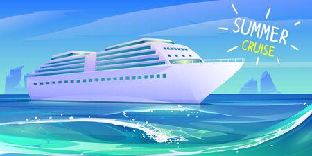 Kreuzfahrtschiff im Ozean. Sommer-Luxusurlaub auf einem Kreuzfahrtschiff. Vektor-Cartoon-Illustration der tropischen Meereslandschaft mit Passagierschiff auf blauen Meereswasserwellen