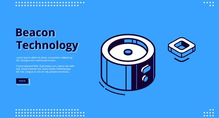 Beacon technology banner. Internet of things system concept. Vector landing page of marketing strategy using radar with wireless connection. Line art illustration on blue background