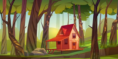 Wood house in forest or garden. Forester shack. Vector cartoon summer landscape of wooden village, cottage or farmhouse with porch, green lawn, big trees and sun light Stock Illustratie
