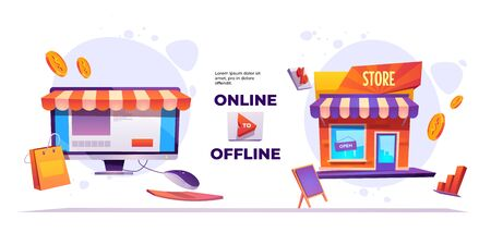 Online to offline banner. O2O sales system, ecommerce and retail business. Vector landing page of marketing strategy with cartoon illustration of shop building and online market on computer screen