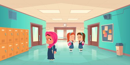 Sad muslim girl in school hallway and teenagers behind her back. Vector cartoon illustration with lonely islamic student with scarf on head. Social communication problem, bullying and racism concept