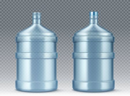 Big bottle for water cooler open and closed with cap. Vector realistic mockup of blue plastic packaging for drinking water isolated on transparent background, empty delivery gallon container