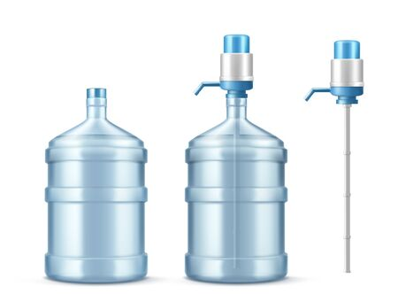 Pump water cooler and big bottle for office and home. Vector realistic mockup of dispenser with pump for pouring clean water and large plastic gallon isolated on white background
