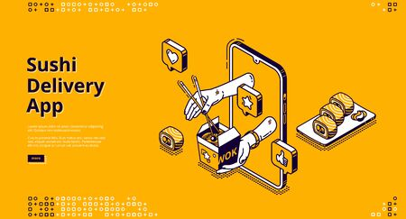 Sushi delivery isometric landing page. Mobile app, online service for order Japanese food and asian meals. Human hands giving wok box with noodles from smartphone screen 3d vector line art, web banner