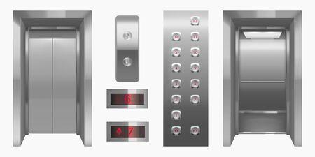 Cabina dell'ascensore realistica con vista interna delle porte chiuse e aperte. Interno dell'ascensore vuoto con pulsanti in metallo cromato e pannello digitale, ufficio, hotel o abitazione all'interno trasporto 3d illustrazione vettoriale Vettoriali