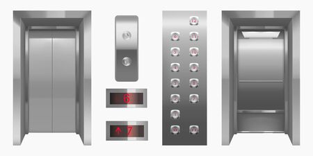 Realistic elevator cabin with closed, open doors inside view. Empty lift interior with chrome metal buttons and digital panel, office, hotel or dwelling indoors transportation 3d vector illustration Ilustração Vetorial