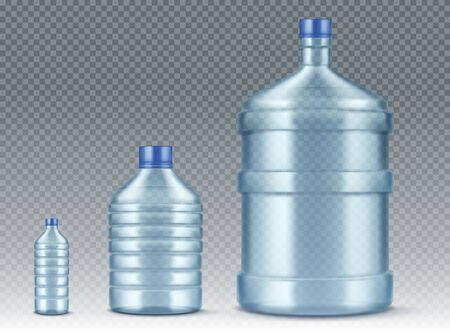 Plastik bottles, small and big for water cooler. Vector realistic mockup of blue plastic packaging for drinking water isolated on transparent background, empty delivery gallon container