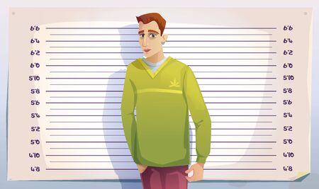 Criminal mugshot in police or prison. Photo of arrested man on scale of height background. Vector cartoon illustration of mug shot of gangster, drug dealer or thief