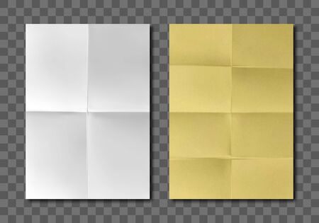 Folded blank paper sheets top view. Vector realistic mockup of white and yellow paper with crossing creases. Wrinkled leaflet, flyer, crumpled document pages isolated on gray background