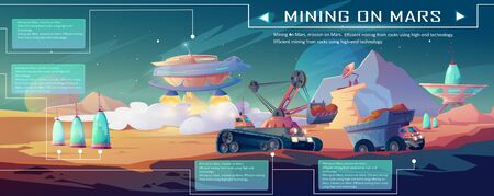 Space mining on Mars. Landscape of alien planet surface with construction machinery, excavator and truck. Vector cartoon infographic of exploration and mining technologies in cosmos