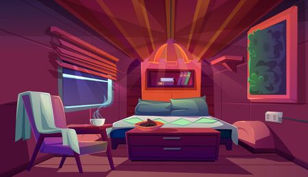 Camper interior with bed, bookshelves, chair and nightstand. Empty modern trailer car at night. Vector cartoon bedroom in camping van with cozy furniture. Minibus for travel and vacation inside