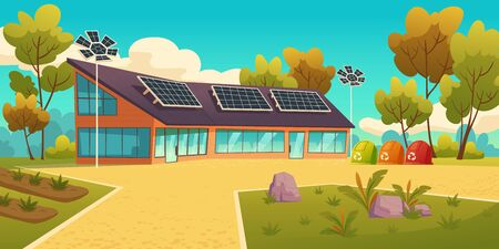 House with solar panels and garbage sorting litter bins. Eco friendly home, modern building on nature landscape with trees. Green renewable energy, organic architecture, Cartoon vector illustration