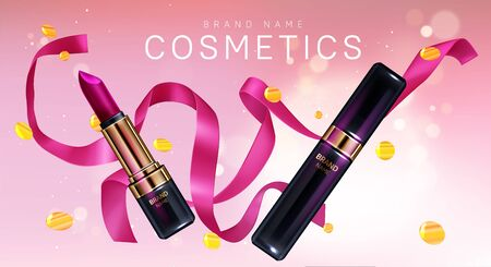 Lipstick cosmetics make up with confetti and pink ribbon beauty product banner. Makeup fuchsia colored rouge closed and open tubes. Luxury promo ad template for magazine, realistic 3d vector poster